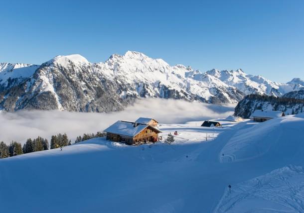 Blick auf der Alpe Unterpartnom in Sonntag-Stein, Großes Walsertal