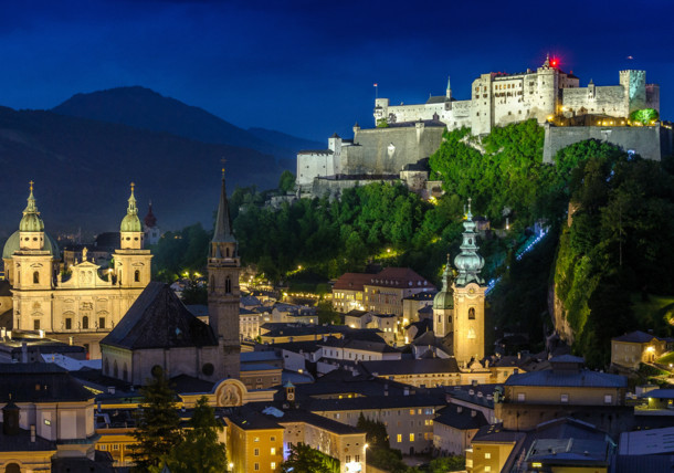 City of Salzburg at night