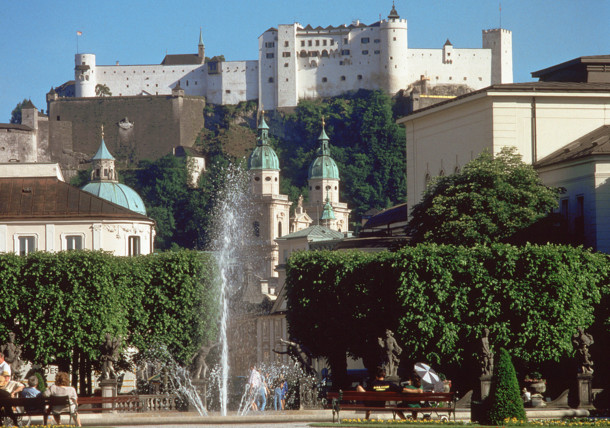 Salzburg View from Mirabell Palace Hohensalzburg Fortress