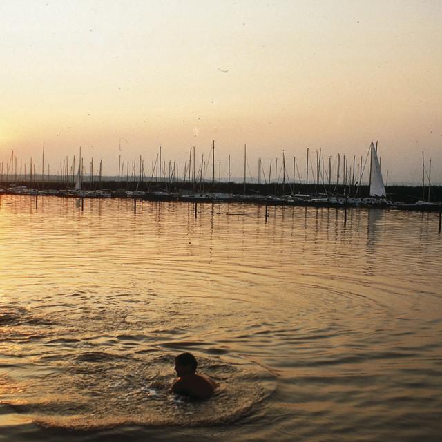 Kinder beim Spielen im Sonnenuntergang am Neusiedlersee