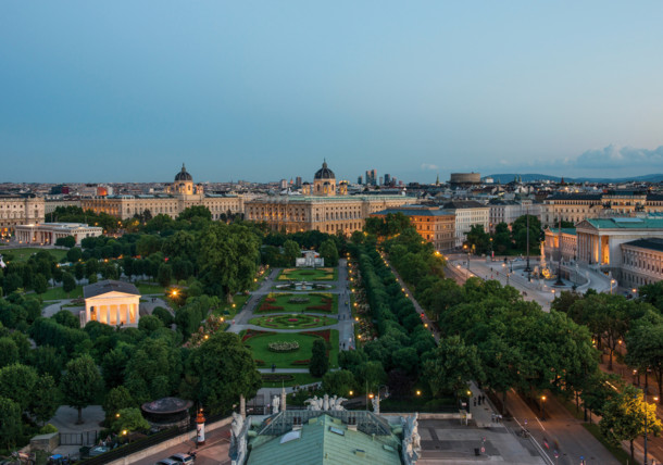 View of the Ringstrasse from the roof of the Burgtheater