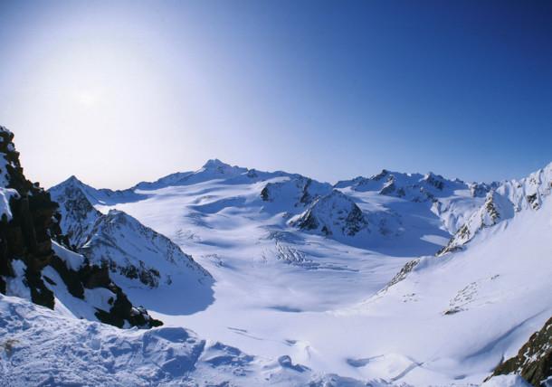 Wildspitze Mountain Oetztal Alps View from Kaunertal Valley
