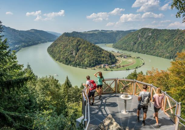 Uitzicht op de Schlögener Schlinge in Oberösterreich
