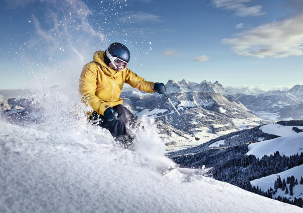 Freerider enjoys a ride on an untouched slope