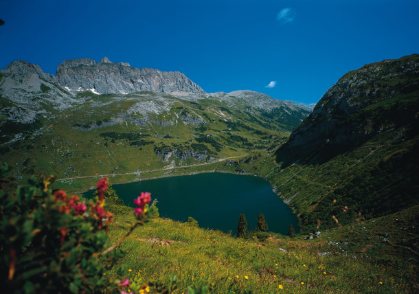 mountain lake Formarinsee with Rote Wand mountain