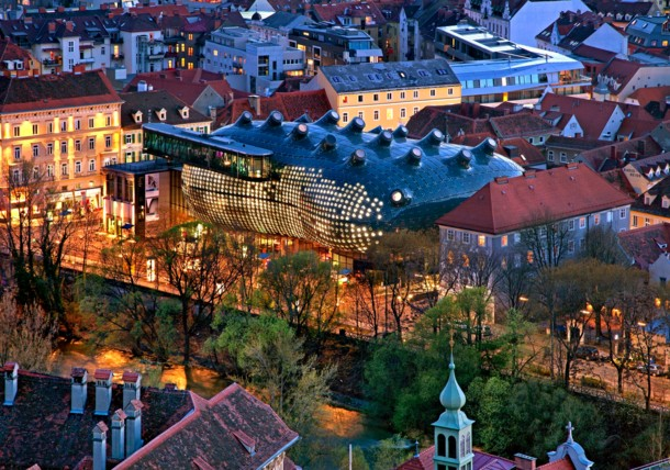 Birdseye view of the Kunsthaus Graz also called the friendly alien