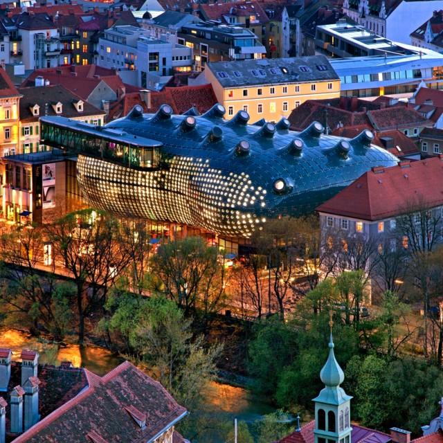 Kunsthaus Graz aus der Vogelperspektive