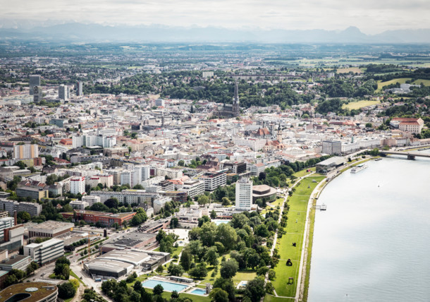Aerial view of Linz