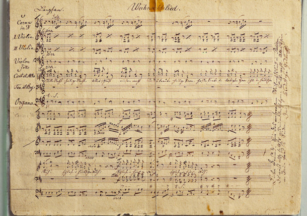 Original Silent Night autograph by Franz X Gruber for organ and 2 violins, 1845