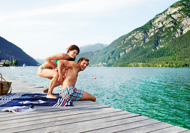 Bathing at the jetty in Pertisau am Achensee
