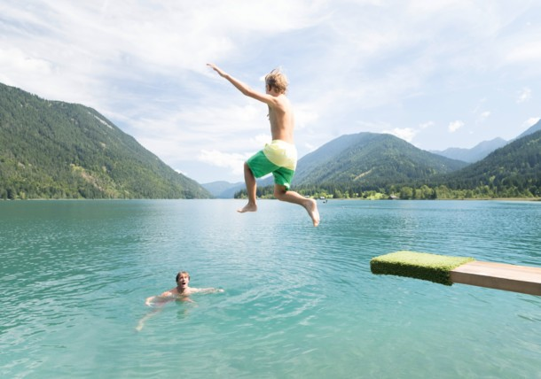 Jumping into Lake Weissensee