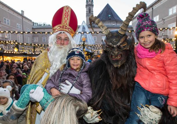 Santa Claus and Krampus at the Salzburg Christmas Market