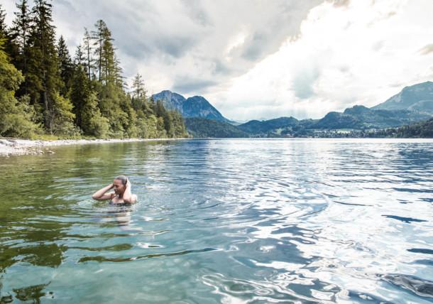 Pływanie w jeziorze Altausseer See