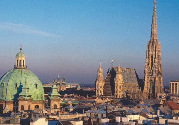 St. Stephan's Cathedral and St. Peters church in beautiful imperial Vienna