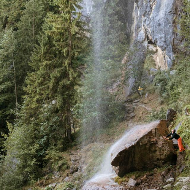 Klettern am Schleier Wasserfall