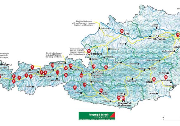 Karte mit Zielbahnhöfen in Österreich