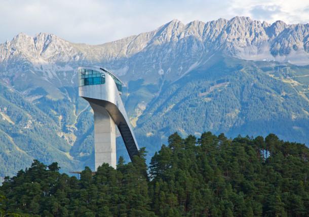 Bergisel ski jump with view to Karwendel mountains