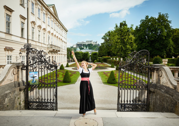 Sound of Music actress at Mirabell Gardens in Salzburg