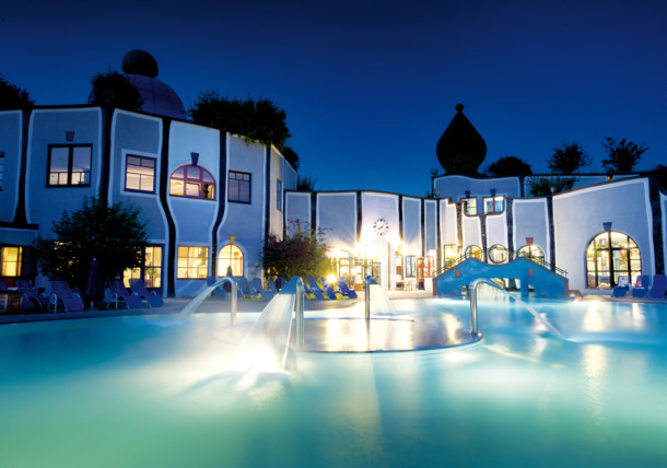 Rogner Bad Blumau thermal spa at night