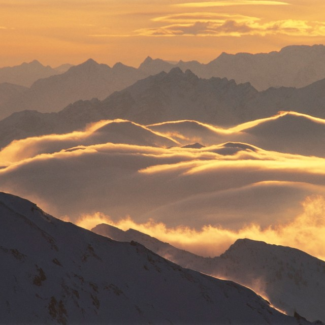 Abendstimmung über den Stubaier Alpen