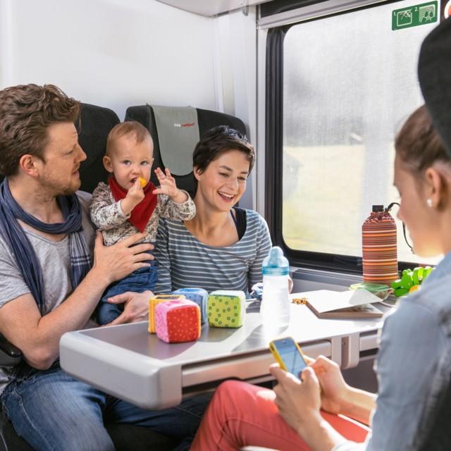 Familie in der Bahn