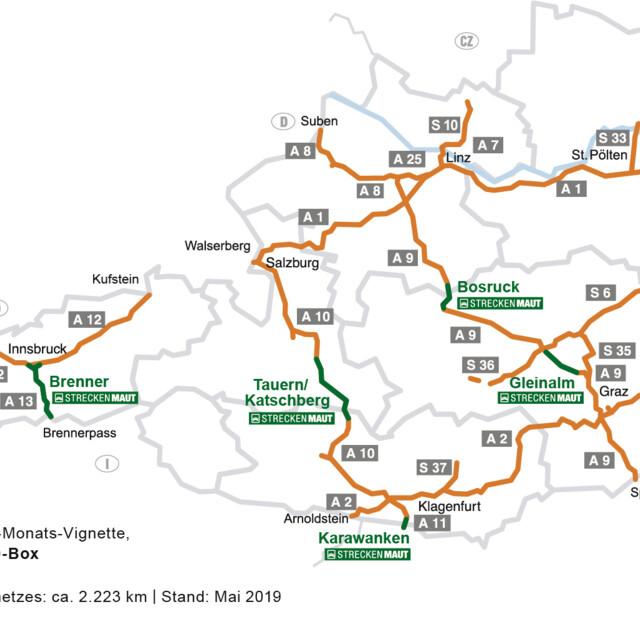 Straßen in Österreich mit Maut- oder Vignettenpflicht
