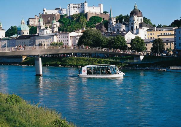 Boat trip on Salzach river in Salzburg
