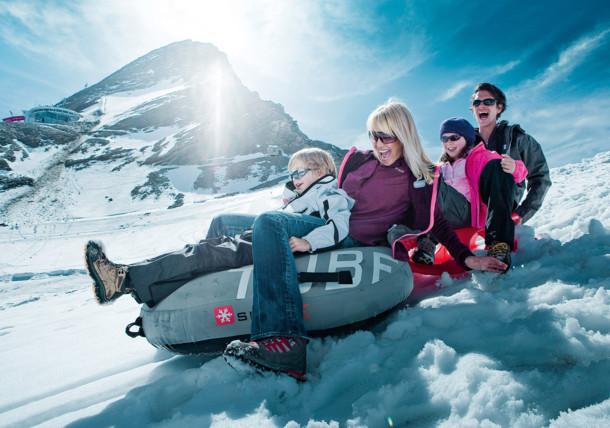 Summer tobogganing at Kitzsteinhorn Glacier