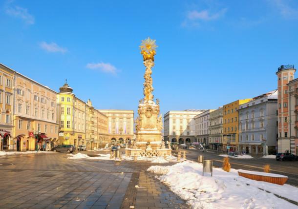 Hauptplatz in Linz im Winter
