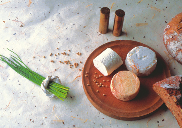 Austrian cheese selection with bread and chives