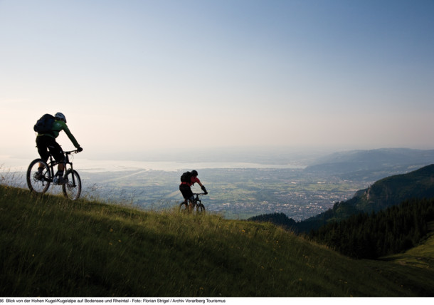 mountainbiking - view to the Rheintal valley and lake Constance