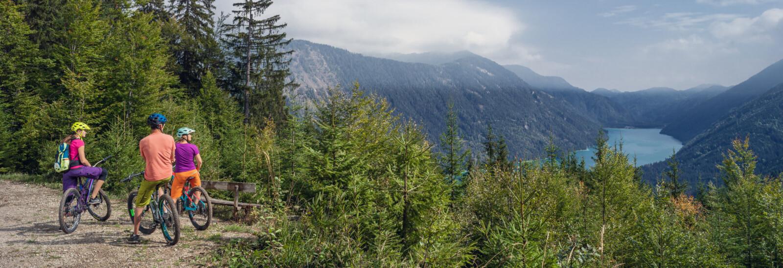 Rast vom Mountainbiken mit Blick auf den Weissensee