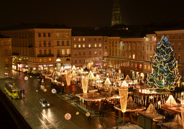christmas market at main square Linz