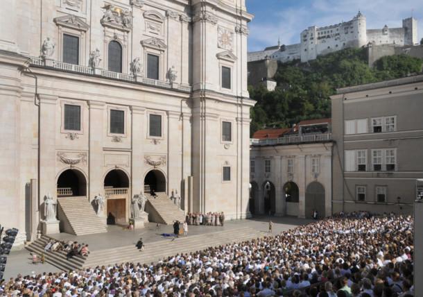 Jedermann Aufführung in der Stadt Salzburg