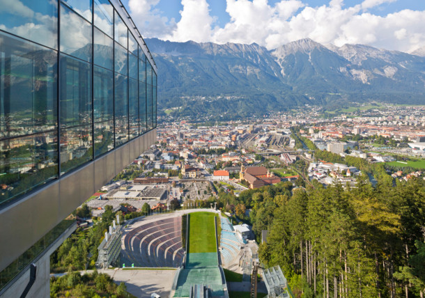 View from the Bergisel Ski Jump Tower in Innsbruck