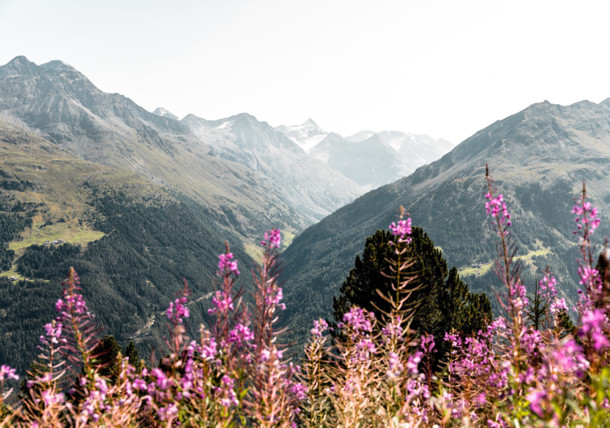 Hiking through the mountain landscape in the Ötztal valley