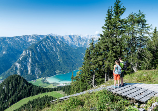 Hiking in the Rofan mountains, view to lake Achensee