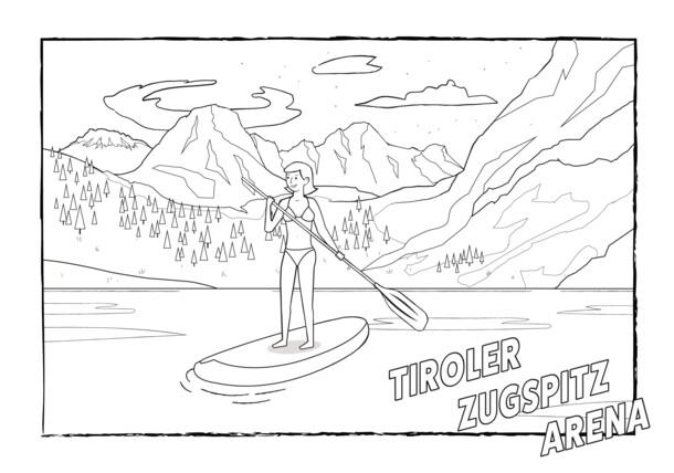 Tiroler Zugspitz Arena - Black & White Illustration