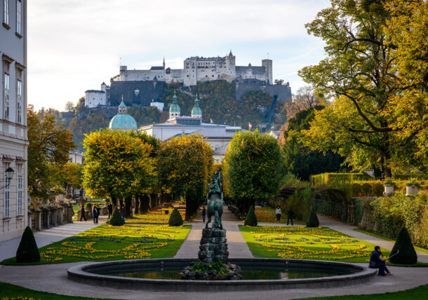 city of Salzburg in autumn, Mirabell Garden with view of Hohensalzburg Fortress