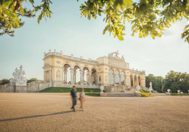 Gloriette building in the park of Schönbrunn Palace