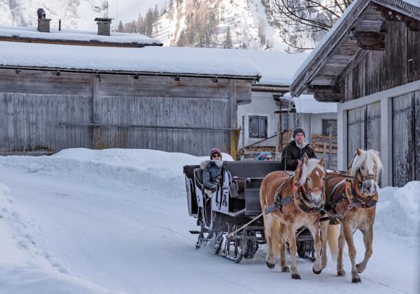 Pferdeschlittenfahrt bei der Falzthurnalm im Naturpark Karwendel