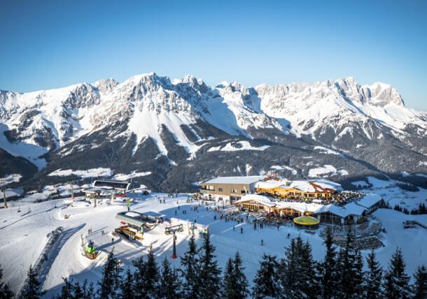View from Hartkaiser to SkiWelt Ellmau